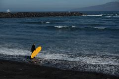 Океан вызывает серфер стоковое фото