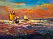 Океан и корабль Стоковая Фотография