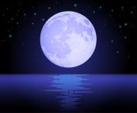 океан луны над отражать Иллюстрация вектора