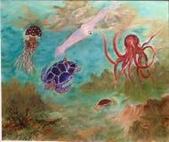 Океан, море, морская флора и фауна, акватическое темносинее стоковые фотографии rf