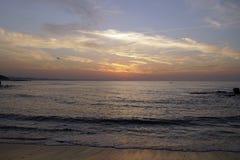 океан над восходом солнца атласа над красивейшими облаками птиц цветы раньше летают море подъемов отражения природы утра золота п стоковое фото