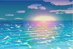 океан над заходом солнца Бесплатная Иллюстрация