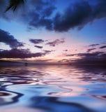 океан над заходом солнца Стоковое Изображение RF