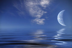 океан над миром планеты иллюстрация вектора