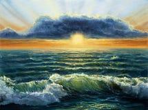 океан над заходом солнца Стоковые Изображения RF