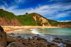 океан пляжа ландшафта в Астурии, Испании Стоковое Изображение RF