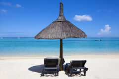 океан пляжа песочный Остров медового месяца o тропический Маврикия Стоковая Фотография