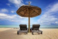 океан пляжа песочный Остров медового месяца o тропический Маврикия Стоковое Изображение RF