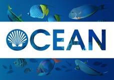 Океан с рыбами Стоковые Фотографии RF