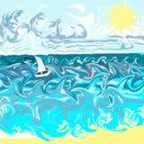 океан шлюпки бурный Стоковые Фото