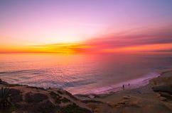 океан 3d представляет заход солнца Стоковые Фото