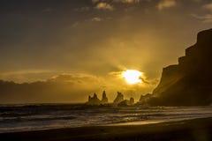 океан 3d представляет заход солнца Стоковое Фото