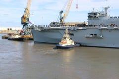 Океан HMS приезжая на Sunderland, 1-ое мая 2015 Стоковое Фото