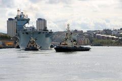 Океан HMS приезжая на Sunderland, 1-ое мая 2015 Стоковые Изображения RF