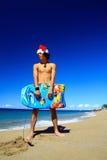 океан santa claus доски пляжа Стоковые Изображения