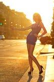 оклича женщина таксомотора Стоковая Фотография