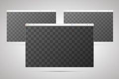 3 окна браузеров с прозрачным местом для экрана Стоковые Изображения
