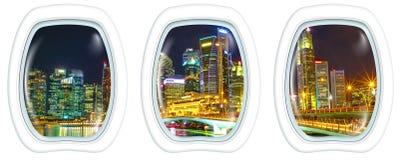 Окна иллюминатора на горизонте Сингапура городском Стоковая Фотография RF
