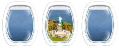 Окна иллюминатора на острове свободы Стоковые Фото