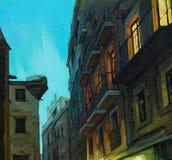 Окна ночи Барселоны, крася иллюстрация вектора