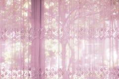Окна спальни одели с striped занавесом тот drapery шнурка Стоковые Изображения RF