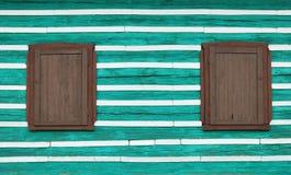 2 окна с деревянными штарками окна Стоковые Изображения RF