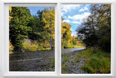 Окно вдоль реки, цвета падения стоковая фотография rf
