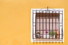 Окно желтого дома Стоковые Фото
