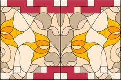окно запятнанное стеклом Состав стилизованных тюльпанов, листьев Стоковое Изображение
