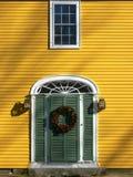 окно зеленого цвета одного двери Стоковая Фотография