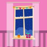 Окно зимы рождества бесплатная иллюстрация