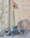 Окно зимы с розовым Hippeastrum Стоковое фото RF