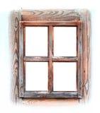 окно изолированное рамкой белое деревянное Стоковые Фотографии RF