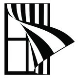 Окно иллюстрации с striped шторками Стоковая Фотография RF