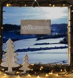 Окно, ландшафт зимы, гостеприимсво середин Willkommen Стоковое Изображение