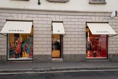 Окно магазина и вход милана бутика Chanel Стоковые Изображения