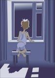 окно мальчика Стоковые Изображения