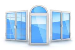 Окно 3 на белой предпосылке Стоковое Изображение