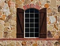 Окно на каменной стене стоковое изображение