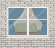 Окно на кирпичной стене Взгляд живущей комнаты от стороны улицы бесплатная иллюстрация