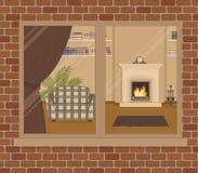 Окно на кирпичной стене Взгляд живущей комнаты от стороны улицы иллюстрация штока