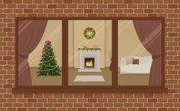 Окно на кирпичной стене Живущая комната, украшенная с украшением рождества бесплатная иллюстрация