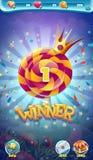 Окно победителя игры GUI сладостного мира передвижное Стоковые Фотографии RF