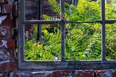 Окно покинутого дома упало в огонь стоковое изображение rf