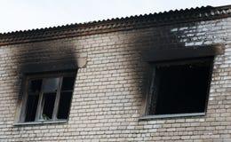 Окно после огня стоковая фотография rf