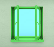 окно раскрытое зеленым цветом Стоковые Фотографии RF