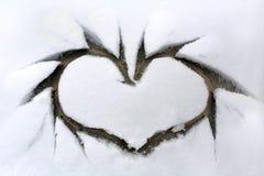 окно сердца снежное Стоковая Фотография RF