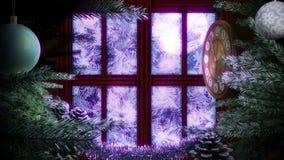 Окно с абстрактной рождественской елкой бесплатная иллюстрация