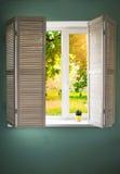 Окно с деревянными штарками Стоковые Изображения RF