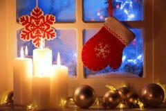 окно с украшением рождества Стоковая Фотография